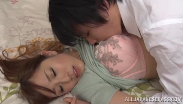 Cute Japanese milf Erika Kitagawa is waiting for her lover to come.