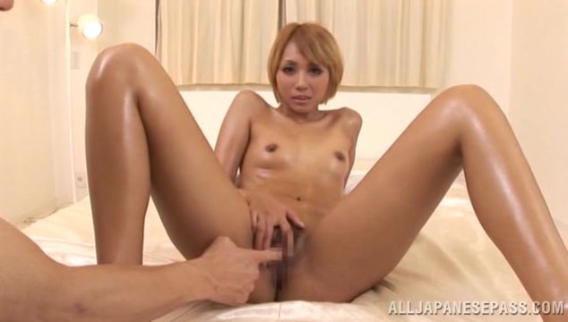 Exquisite Japanese blonde milf spreads legs and gets pounded on pov.
