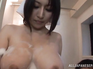 Bang-up Japanese seductress Yuuna Hoshisaki curves nude in front of her new impressive lover, begging for a hardcore sex play.