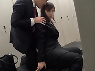 Luckily for her, he was in the locker room and helped her satisfy her desires, laying her down on the bend, sliding her skirt up, and giving her the hard fucking she desires.