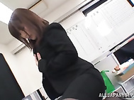 Office MILF fucks herself and gets fucked at the office.