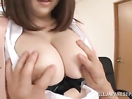 Cute Japanese mature office ladies with big tits Rin Kazane and Miyuki Matsushita get naughty and they want some fun in the office.