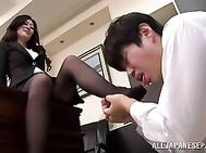 Horny Japanese babe gets eager to have some fun while at the office so she starts teasing her boss into deep pounding her hairy pussy and fill it with his jizz.