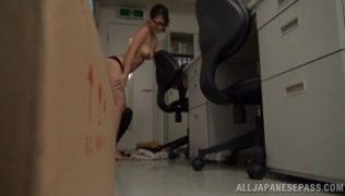 The horny amateur milf takes off her clothing, and spreads legs, sitting on an office chair.