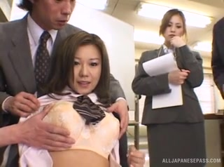 During a meeting with a lot of guys at an office, two Asian babes, Yui Aoyama, and Miruku Matsusaka, get put on a chair and groped by the guys.