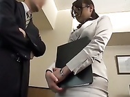 Japanese AV Model is sexy milf in office suit and black stockings nailed.