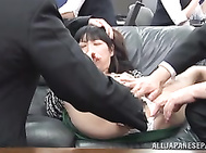 Horny office chick gets involved into hardcore public sex in her own office.