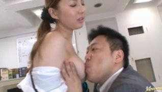 Pretty MILF Yui Tatsumi loves working in an office, as she gets to wear smart office suits, and sexy short skirts, which make her feel good, and she knows that the men in the office are always looking looking lustily at her.