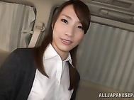 Alluring Asian office chick jerks off cock and deepthroats it on pov.