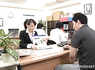 Juicy Asian office lady Ki Hanyuu gets fucked by a horny visitor.