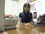 Nasty Japanese couple making out and fucking in public.