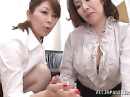 Sexy Asian babe Chisato Shohda is sharing this large cock in one naughty POV threesome oral session.