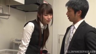Cute office girl moans as she is nailed.