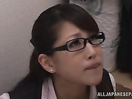 Naughty Asian office chick Erika Masuwaka gets horny and follows her handsome male colleague to an empty office to have some sexual fun.