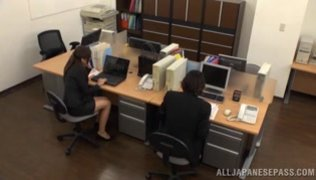 Office chick removes her undies for a good fuck.