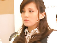 Japanese office babe Ameri Ichinose gets fucked hard.