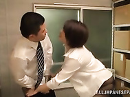 Needy Japanese milf in office suit loves to tease her boss and turn him on with her sensual moves, teasing him enough to make him eager to feel and taste of her wet vag.