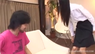 Young Asian babe Aino Kishi gets her toes licked and gives head.