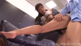 The cutie makes him happy by blowjob and footjob actions, and gets her hairy kitty pounded in a doggystyle.