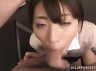 Elegant office chick Saki Kouzai looks sexy in her glasses, and her horny mouth needs to suck.