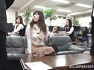 Crazy guys seduce and fuck pretty sexy ladies in the office. 2