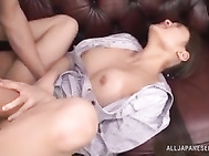 She spreads her legs and gets fucked hard.