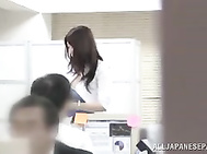 Lovely Japanese office milf feels so horny and needs sex immediately.