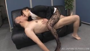 She comes up to the guy, and he starts to fondle her amazing legs, and then rips her pantyhose and nails her lovely pussy.