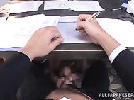 Nice looking Japanese office lady Arisu Miyuki tempts her handsome male colleague by demonstrating her long legs and spreading them under the table.