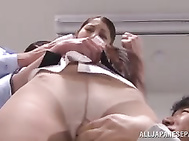 Wild office sex as beauty is banged hard.