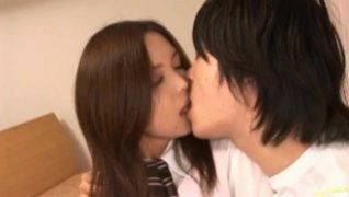 Innocent Riku Harumi gets fucked into her sweet mouth.