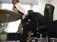 This hot Asian MILF in an office suit is an amateur when it comes to fucking on camera.