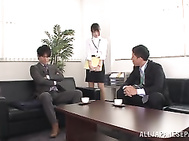Hot office girl Mihono Sakaguchi engulfs two dicks gets nailed hard.