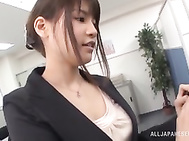 Cute babe in stockings has the best office sex ever.