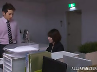Yuki Ooe drilled by two horny males at work.