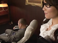 Lovely Japanese chick in office suit Miku Aoki hardcore action.