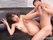 The guys fucks her in a doggystyle, delivering pussy creampie!.