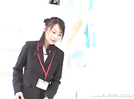 Hot Asian office babe Rei Itoh gives a tit fuck and sucks dick.
