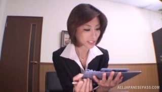 Skinny office lady Akari Asahina gets her boobs teased and pussy banged.
