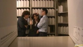 Horny office babe sucks and fucks like crazy.