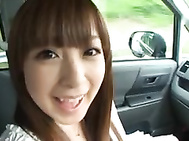 Innocent teen Hirono Imai gets her pussy stimulated in a car.