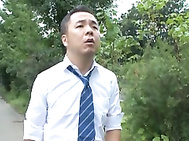 Japanese chick in outdoor sex.