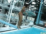 Mai Sakurai and Rara Motofuji and their two male friends go out to have some wet fun and enjoy their almost naked bodies in the process.