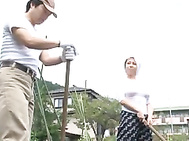 MILF Yumi Kazama Fucks A Guy In The Field In Public.