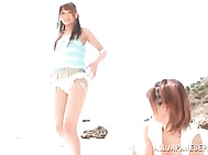 Cute Japanese teen chick Aino Kishi, Airi-Kijima and Mayu Nozomi meet a sexy guy on the beach and are going to ride on his dick.