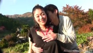 Hot married chick with hairy pussy Ayumi Shinjyou enjoys outdor sex.