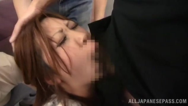 Dazzling Japanese babe is ready to have an unforgettable time along these horny males who are in great need to feel her cramped holes stretching by their stiff cocks.