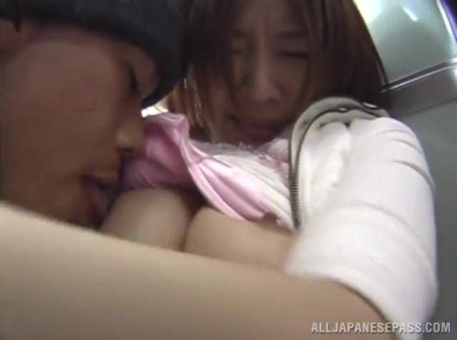 Amateur Asian brunette was taking a nap on the public vehicle while she was on her way home.