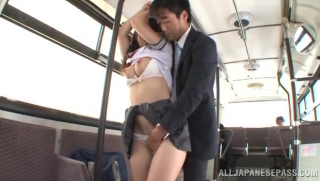 Horny japanese hottie Mao Kurata is horny and eager to feel this guy's huge cock sliding inside her hairy pussy making that nice ass to bounce and those fine tits to shake like crazy while having hardcore action.