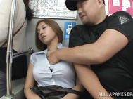 Frisky Asian lady with big tits Ruri Saijoh enjoys public fucking.